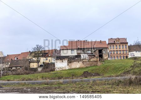 panoramic view to buildings in Eisleben Germany without people
