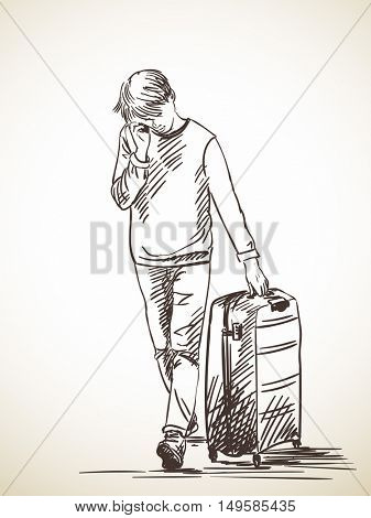 Sketch of man walking with suitcase and talking on mobile phone, Hand drawn Vector illustration