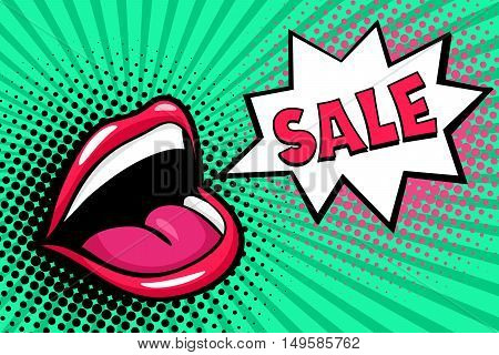 Sexy Open Female Mouth Screaming And Sale Speech Bubble. Vector Bright Background In Comic Retro Pop