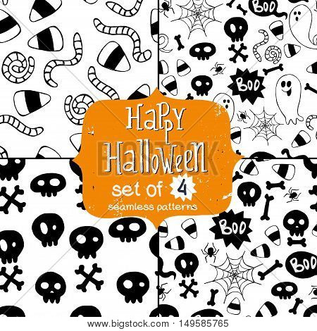 Set of four seamless patterns with hand drawn halloween doodles. Childish tiling background with cartoon spooky ghosts skulls bones spider and candy corns.