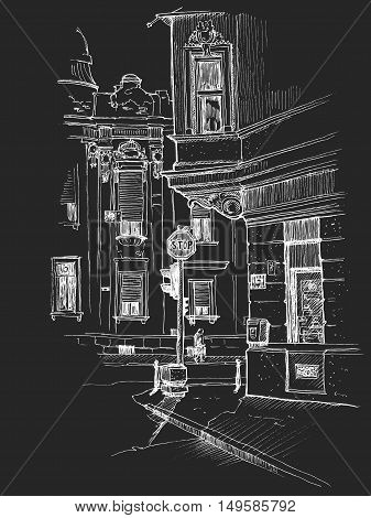 Vector illustration of the beautiful buildings on the corner in old historical city center drawn in a sketch style and isolated on chalkboard background. Belgrade Serbia.