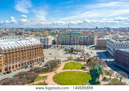 St Isaac's Square is one of the most beautiful city locations with perfect architectural ensemble including mansions palaces monument park and St Isaac's Cathedral St Petersburg Russia.