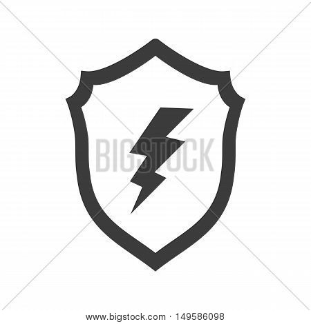 Lightning On The Shield Icon. Lightning On The Shield Vector Isolated On White Background. Flat Vect