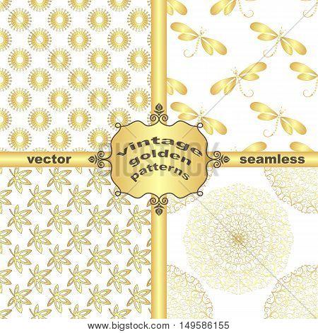 Set vintage golden patterns and frame vector