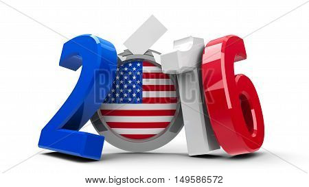 Figures 2016 in the colors of american flag with badge isolated on white background represents Presidential Election 2016 in USA three-dimensional rendering 3D illustration