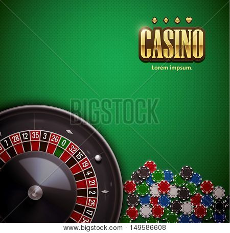 vector illustration of  roulette wheel with casino chips isolated on green  table realistic objects 3d with place for text eps 10
