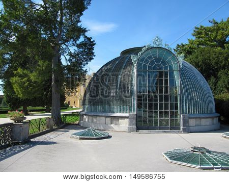 Lednice Czech Republic - September 29 2011: Famous Greenhouse in the Lednice Castle Moravia South Moravia Czech republic