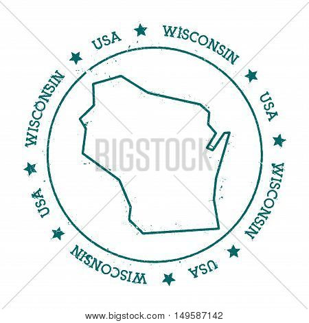 Wisconsin Vector Map. Retro Vintage Insignia With Us State Map. Distressed Visa Stamp With Wisconsin