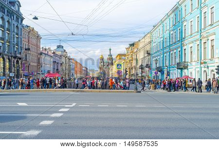 SAINT PETERSBURG RUSSIA - APRIL 25 2015: The view from the Nevsky Prospekt on Church of the Savior on Spilled Blood located along the Griboedov Canal on April 25 in Saint Petersburg.