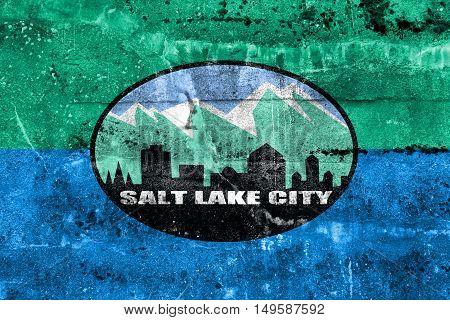 Flag Of Salt Lake City, Utah, Usa, Painted On Dirty Wall