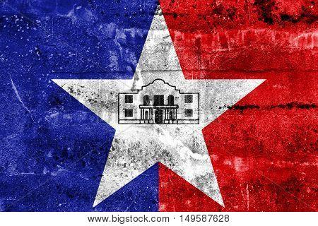 Flag Of San Antonio, Texas, Usa, Painted On Dirty Wall