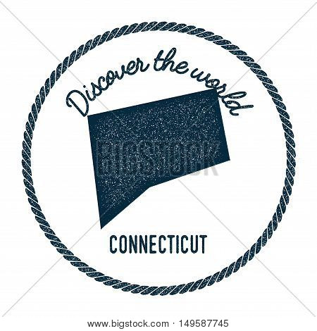 Connecticut Map In Vintage Discover The World Rubber Stamp. Hipster Style Nautical Postage Stamp, Wi
