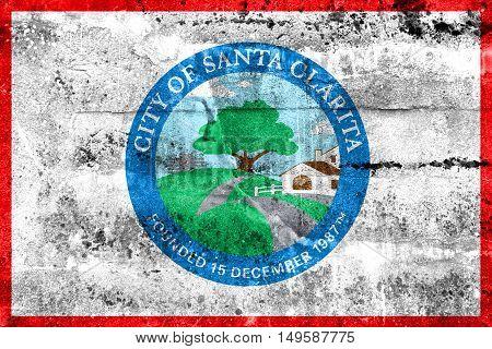 Flag Of Santa Clarita, California, Usa, Painted On Dirty Wall