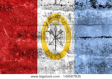 Flag Of Santa Fe Province, Argentina, Painted On Dirty Wall