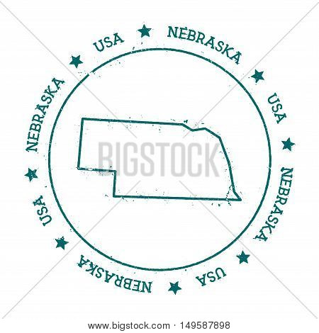 Nebraska Vector Map. Retro Vintage Insignia With Us State Map. Distressed Visa Stamp With Nebraska T