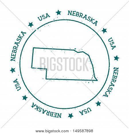 Nebraska Vector Map. Retro Vintage Insignia With Us State Map. Distressed Visa Stamp With Nebraska T