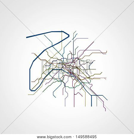 3d illustration of Paris metro map isolated on white background