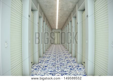 3d illustration of a self storage with portuguese floor