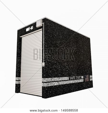 3d illustration of a selfstorage unit isolated on white background