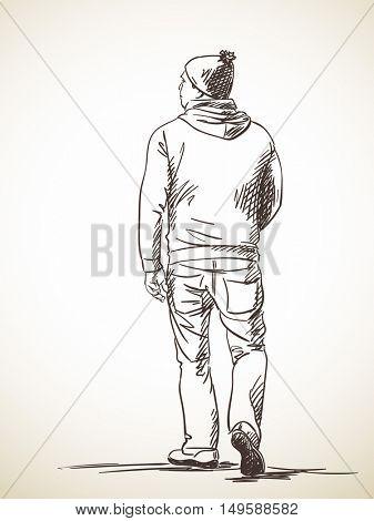 Sketch of man walking, Hand drawn illustration of back view