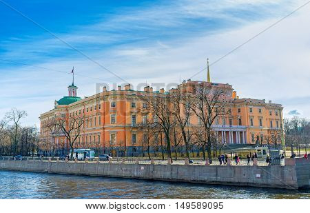 SAINT PETERSBURG RUSSIA - APRIL 25 2015: The unusual building of St Michael's (Engineers) Castle is famous for four different front facades from its four sides on April 25 in Saint Petersburg.