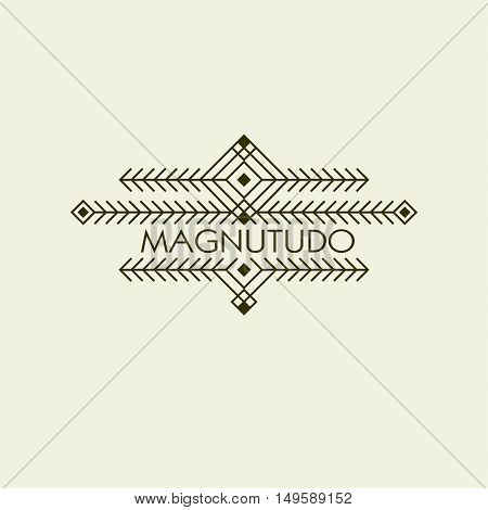 Vintage Luxury Ethnic Art Deco Monochrome Flourishes Monogram. Ornamental Emblem. Template logo. Hipster Style