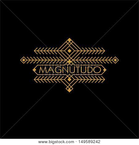 Vintage Luxury Ethnic Art Deco Monochrome Gold Flourishes Monogram. Ornamental Emblem. Template logo. Hipster Style