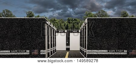 3d illustration of modern self storage units