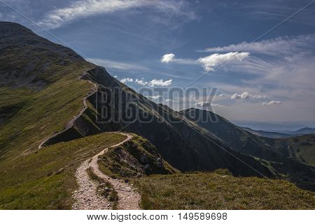 Winding trail to the summit of the Western Tatras