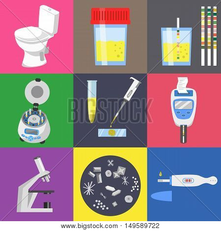 Urine test analysis and medical laboratory equipment. Color vector icons set