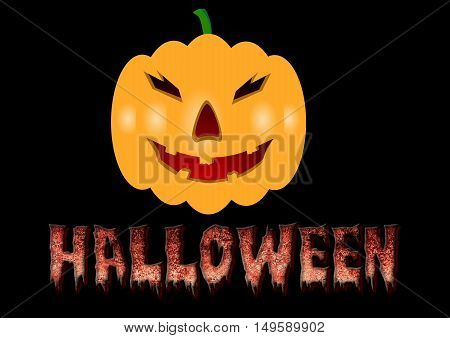 Smiling Halloween pumpkin and scary letters poster