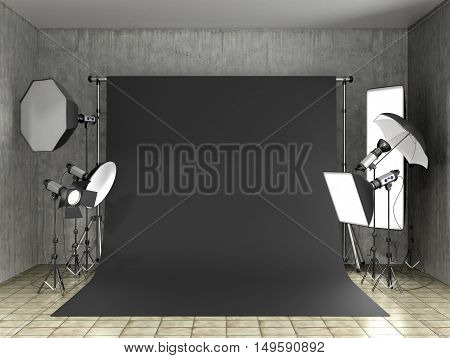 Installation of lighting in the photo studio. Photo studio equipment to. 3D Illustration.