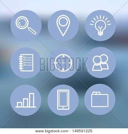Flat set style design blue icons for business, communication, social network, affiliate marketing for web and presentation