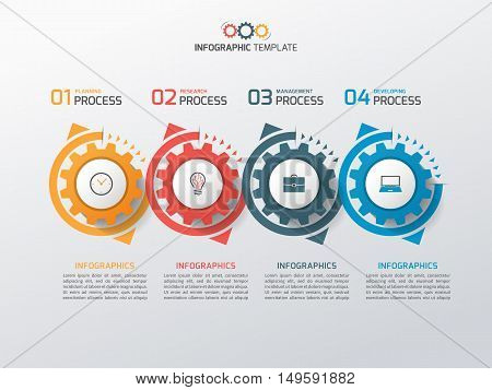 Business Infographic Template With Gears Cogwheels 4 Steps, Processes, Parts, Options. Vector Illust