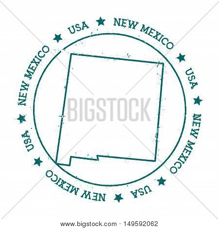 New Mexico Vector Map. Retro Vintage Insignia With Us State Map. Distressed Visa Stamp With New Mexi