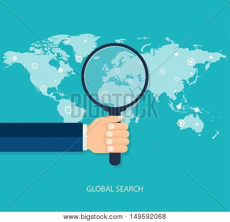 Global search concept flat style. Vector illustration.