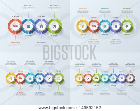 Set Of Timeline Business Infographic Templates With 4-7 Steps, Processes, Parts, Options. Vector Ill