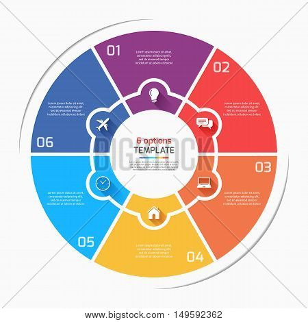 Flat Style Pie Chart Circle Infographic Template With 6 Options, Steps, Parts, Processes. Vector Ill