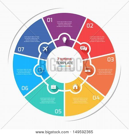 Flat Style Pie Chart Circle Infographic Template With 7 Options, Steps, Parts, Processes. Vector Ill