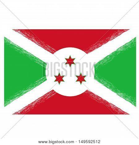 National Grunge Flag of Burundi. Symbol of Independence.