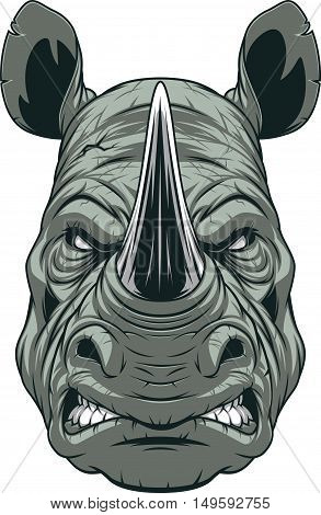 Vector illustration a ferocious rhinoceros head on a white background