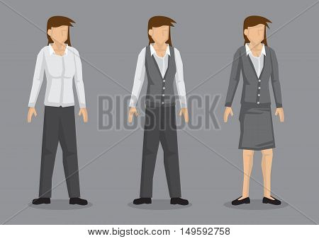 Set of three designs of women workwear. Vector female cartoon character isolated on grey background.