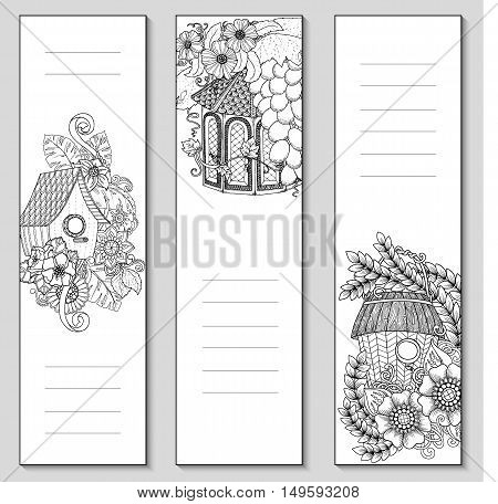 Template design bookmarks isolated on white background with place for text and notes in top view. Coloring page mockup for adult. Vector illustration.