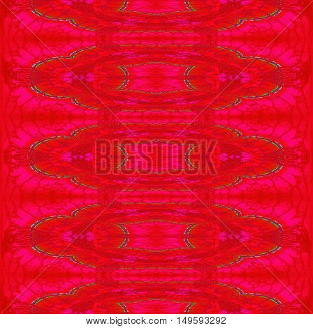 Abstract geometric seamless background. Regular ellipses ornaments in red and violet shades with green outlines.
