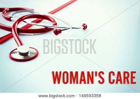 Gynecology concept. Red stethoscope on white background