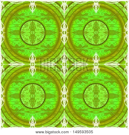 Abstract geometric seamless background. Regular concentric circles pattern bright green and olive green with scrolled elements in white.
