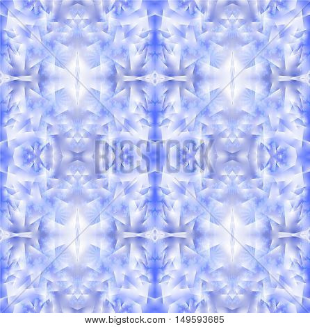 Abstract geometric seamless background. Regular frost pattern in light blue and lilac shades with white.
