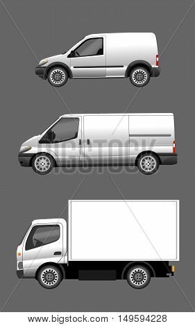 Digital vector silver and white realistic vehicle car set mockup, ready for your logo and design, flat style