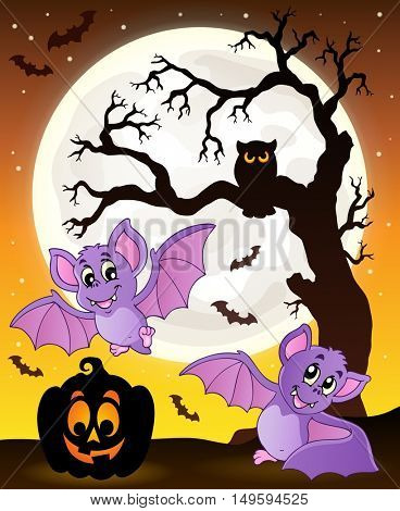 Halloween theme with bats 1 - eps10 vector illustration.