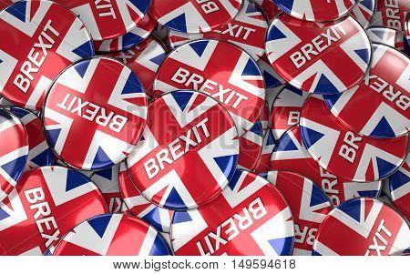 Large pile of Brexit Badges 3D renderin